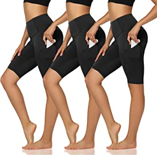 "TNNZEET 3 Pack Biker Shorts for Women - 8""4"" High Waist Tummy Control Workout Yoga Shorts with Pockets"