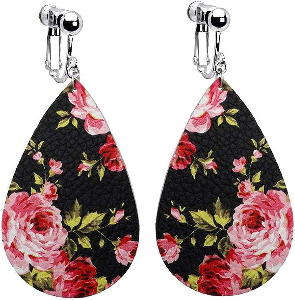 Lightweight Teardrop Printing Floral Faux PU Leather Dangle Clip on Earrings for Women Jewelry Non-Pierced