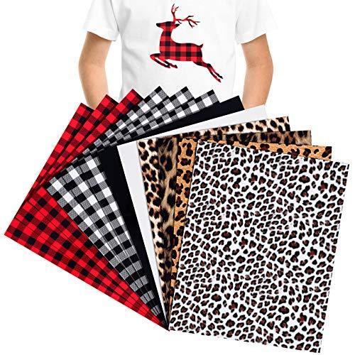 12 Sheets Christmas Buffalo Plaid Heat Transfer Vinyl Set 12 x 10 Inch Print Plaid Iron on Vinyl HTV Leopard Black White Vinyl for DIY Clothes T-Shirts Hats Coats Helmet Socks Bags