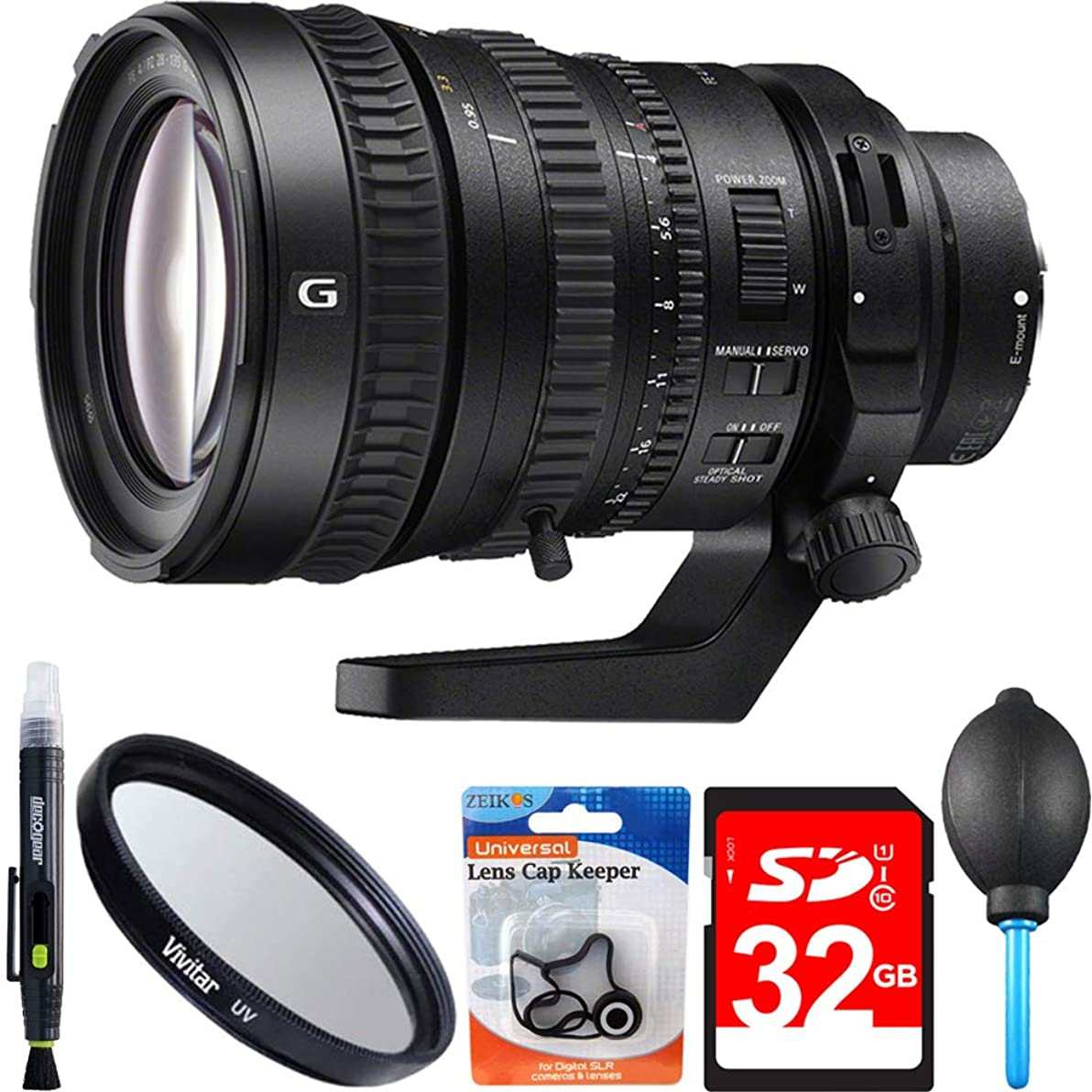 Sony SELP28135G 28-135mm Full-frame E-mount Power Zoom Lens Accessory Bundle Includes 28-135mm Full-frame E-mount Power Zoom Lens, 95mm UV Filter, 32GB SDHC High Speed Memory Card & More
