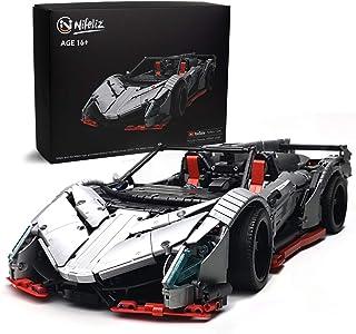 Nifeliz Racing Car Veno MOC بلوک های ساختمانی و اسباب بازی مهندسی ، اتومبیل های کلکسیونی بزرگسالان که قرار است ساخته شوند ، مدل اتومبیل نقره ای مقیاس 1: 8 (3427 عدد)