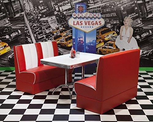 moebelstore24 Sitzgruppe Essgruppe American Diner Vegas/King 4-50er Jahre 3 Teilig Rot-weiß