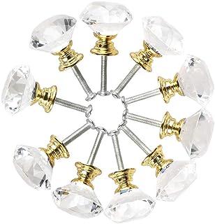 Gaoominy Vaso de Cristal de Forma de Diamante Manilla Asa de Mueble de Cocina Perilla del Cajón de La Puerta Aparador de A...