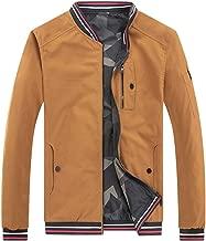 Two-Sided Wear Men's Fall Winter Solid Zipper Pockets Jacket Stand Collar Outwear Coat Tops (M-5XL)