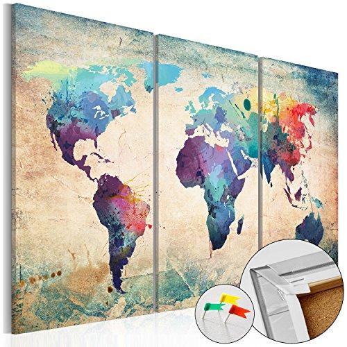 murando Carte du Monde 120x80 cm Tableau en Liège & Tableau sur Toile Intissee XXL Impression Tableaux d'affichage Décoration Photo Image Artistique Photographie Graphique Memoboard k-A-0049-p-a