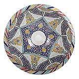 Mediterrane Keramik-Waschbecken Fes102 rund Ø 40 cm bunt H 18