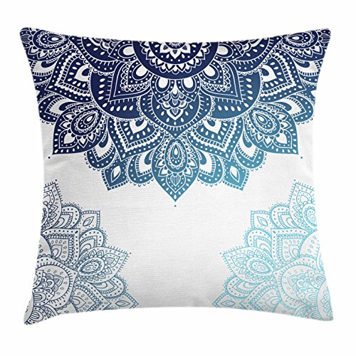 Ambesonne Flora Throw Pillow Cushion Cover, South Mandala Design with Vibrant Color Ornamental Illustration, Decorative Square Accent Pillow Case, 18