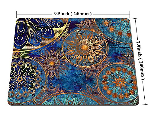 Smooffly Non Slip Mouse Pad for Office, Computer, Laptop & Mac - Durable & Comfortable & Lightweight for Easy Typing-Art Grunge Stylized Damask Pattern with Circles Floral Ornament in Blue Photo #5