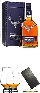 Dalmore 18 Jahre Single Malt Whisky 0,7 Liter  The Glencairn Glass Whisky Glas Stölzle 2 Stück  Buffet-Platte Servierplatte Schieferplatte aus Schiefer 60 x 30 cm schwarz