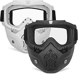POKONBOY 2 Pack Face Mask, Tactical Mask with Protective Goggles Compatible with Nerf Rival, Apollo, Zeus, Khaos, Atlas, Artemis Blasters Rival Mask (Black+White)