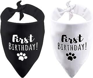 2 Pack First Birthday Dog Bandana Its My Birthday 1st Birthday Party Puppy Bandana Pet Cat Birthday (First Birthday 2 Pack)