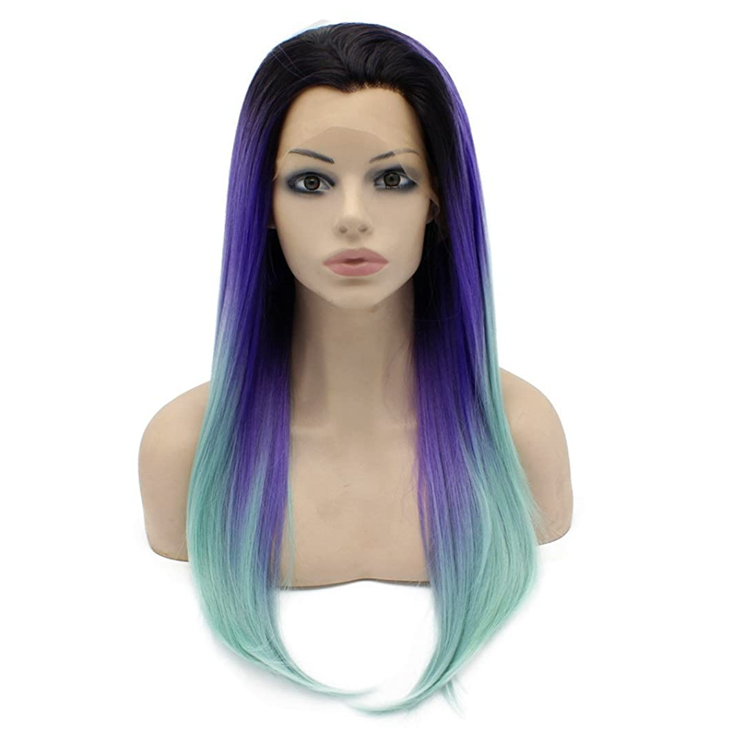 Mxangel Long Straight Celebrity Half Hand Tied Synthetic Lace Front Natural Violet Blue Ombre Hair Wig