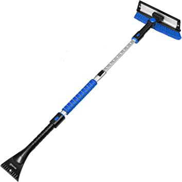 """AstroAI 47.2"""" Ice Scraper for Car Windshield,Extendable Snow Brush for Leaves Removal with Squeegee, 3 in 1 Durable Snow Removal Telescoping Brush for Car Windshield,Household Cleaning Tools(Blue): image"""