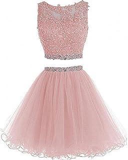 chu gu Women's Prom Dress Short For Juniors 2 Piece Cocktail Party Gown C8