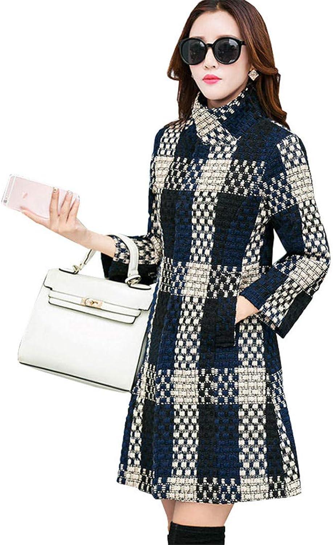 Beltnossnk Hipster Three Quarter Plaid Blend Wool Coat Medium Long Turtleneck Outwear