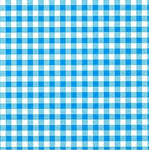Bayern Serviette-n Vichy Karo türkis blau weiß 33 x 33 cm, 20 Stück-Packung, 3-lagig FSC zertifiziert Eco Label