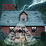 Cheerin Outdoor Halloween Decorations - Scary Spider Decorations Set Comes with 50 inches Giant Fake Spider, 200 inches Triangle Web and 40gr Spider Webs | Props for Outdoor, Indoor, Porch Décor