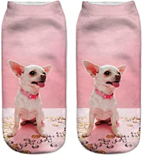 Cute White And Black Baby Chihuahua Classic Knitwear Adult Creative Print Crew Socks Thickening Knitwear Classic