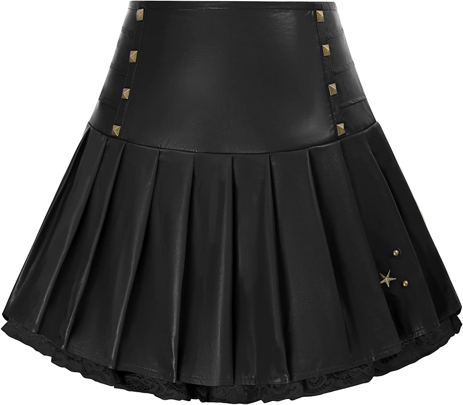 Women Max 81% OFF service Lace Patchwork Leather Mini Skirts High Goth Pleated Waist