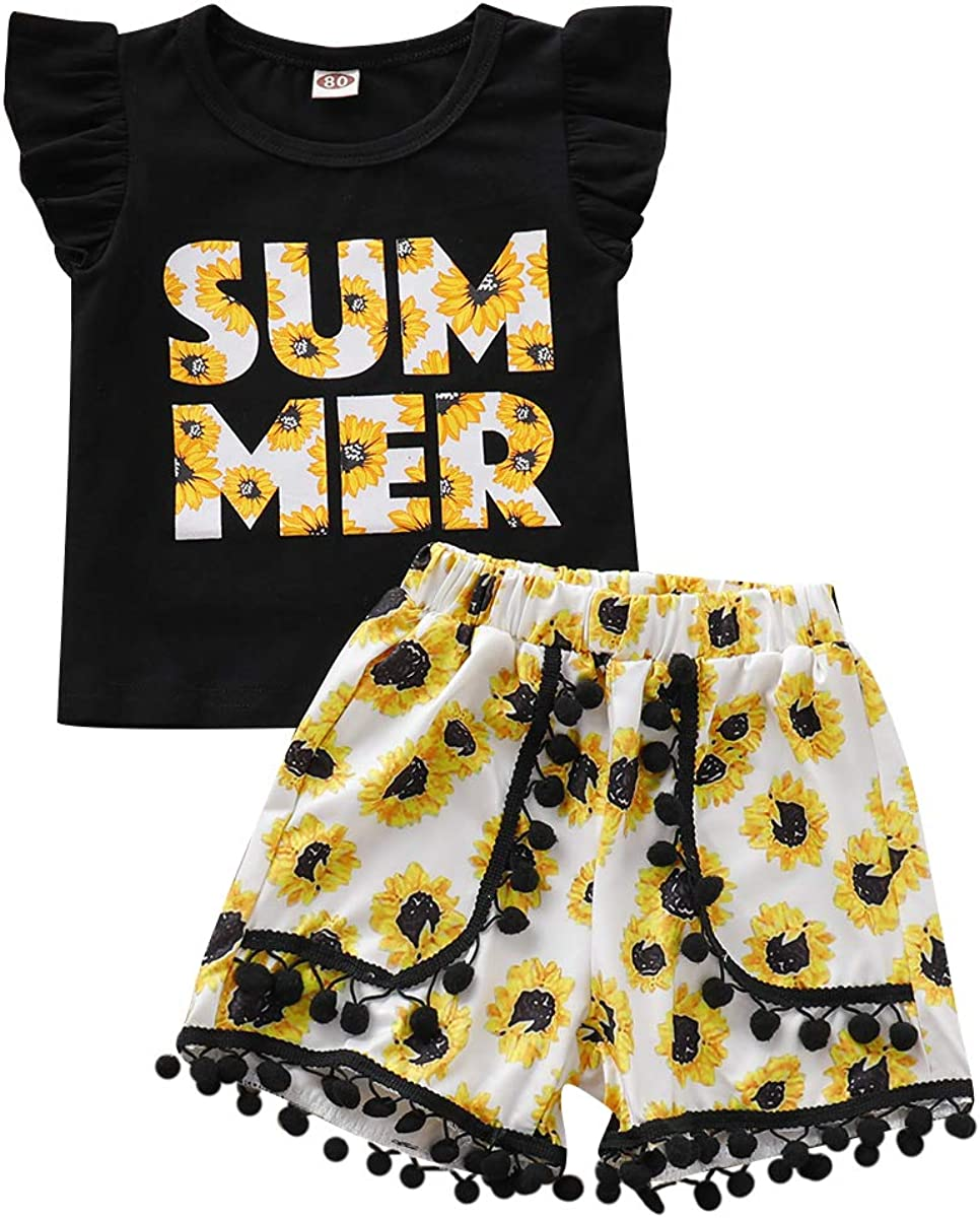 Toddler Baby Girl Summer Yellow Short Sunflower Ranking Max 72% OFF TOP3 Print Flyin Sets