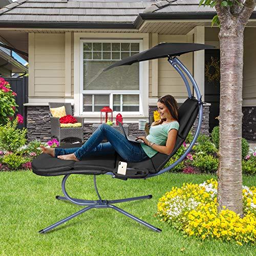 RANSENERS® Schaukelliege Sonnenliege Gartenliege Relaxliege mit Verstellbarer Sonnenschirm und Getränkebecherhalter, bis 160kg belastbar, mit Deutschem TÜV-Bericht, Schwarz - 2