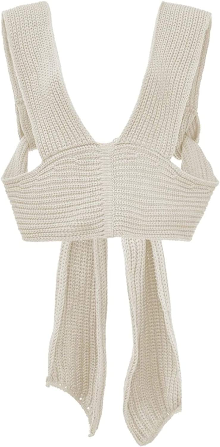 Women Sweater Vest Kintted DIY Crop Top Solid Color Knitwear Sexy Sleeveless Tank Blosue Various Ways to Wear