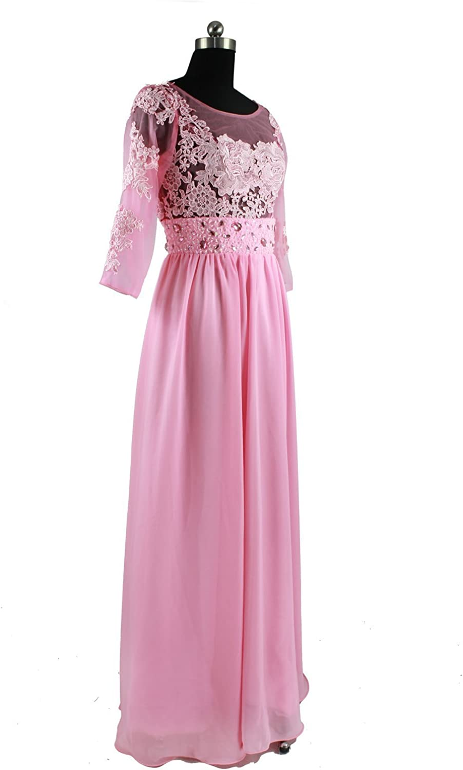 CharmingBridal Long Sleeve Pink Applique Formal Evening Dress Prom Party Dress