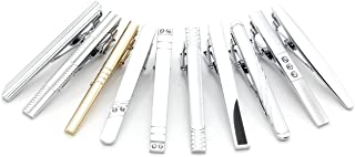 Jovivi Set of 7-10 Tie Clips Stainless Steel Necktie Tie Bar Clasp Pin Wedding Gift, Silver Gold Black 3 Tone