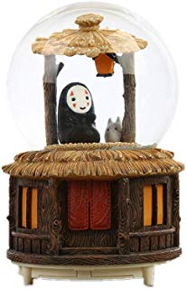 Snow Globes Music Box Crafts, Spirited Away Figures Sculptured Snowglobes Ghibli No Face Man Music Box Glitter Dome for Christmas Valentine's Day Birthday Gift 100mm (A)