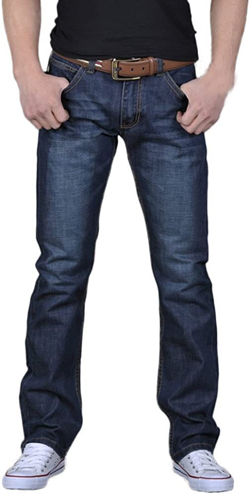 Kirbaez Mens Fashion Denim Jeans Loose Trouse Solid Color Year-end annual account Reservation Casual