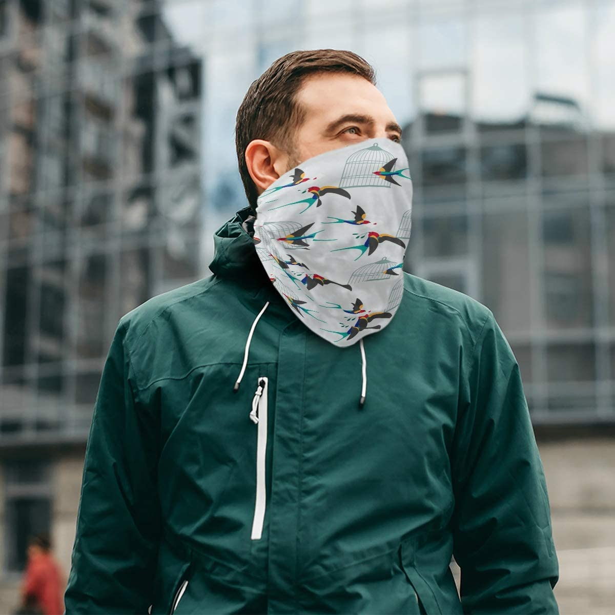 Cute SwallowPrint Headband Face UV Sun Protection Mask Neck Gaiter Magic Scarf Bandana Headwear Balaclava for Women Men