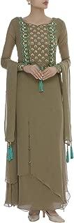 Pinkkart Green Indian Handmade Ethnic Collection Ethnic Full Sleeve Embroidery Work Anarkali Suit Bespoke Gota Patti Work 108okh …
