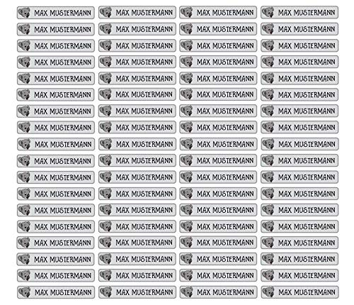 Stifteaufkleber für Bleistifte, Kugelschreiber & weiteres Namensaufkleber Namen Sticker Aufkleber 49x7,5mm | 72 Stück Kinder & Erwachsene Schule & Kindergarten 37 Hintergründe Koala-bär