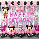 Minnie Theme Birthday Party Decorations Supplies Mouse Balloons Set Including Inflatable Minnie Ear Headbands Polka Dots Balloons