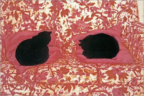 Poster 90 x 60 cm: Katzen von Lucy Willis/Bridgeman Images - hochwertiger Kunstdruck, neues Kunstposter