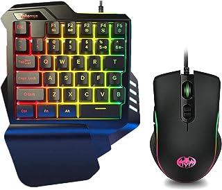 ゲーミング キーボード マウス セット 日本語説明書付き RGB 片手キーボード メカニカル感触 左手用 ゲーミングマウス 最大7200DPI 光学式 USB有線 Fotomus