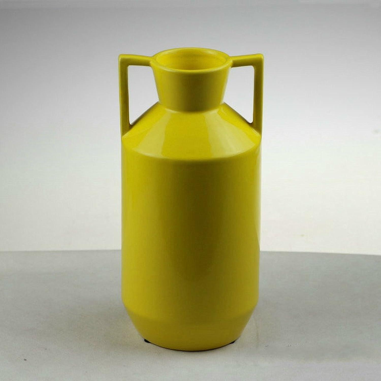 Bwlzsp 1 PCS (sans Fleur) Moderne Jaune Haute température Vase en céramique Double-Oreille Fleuriste Mode LU620254 (Couleur   L)
