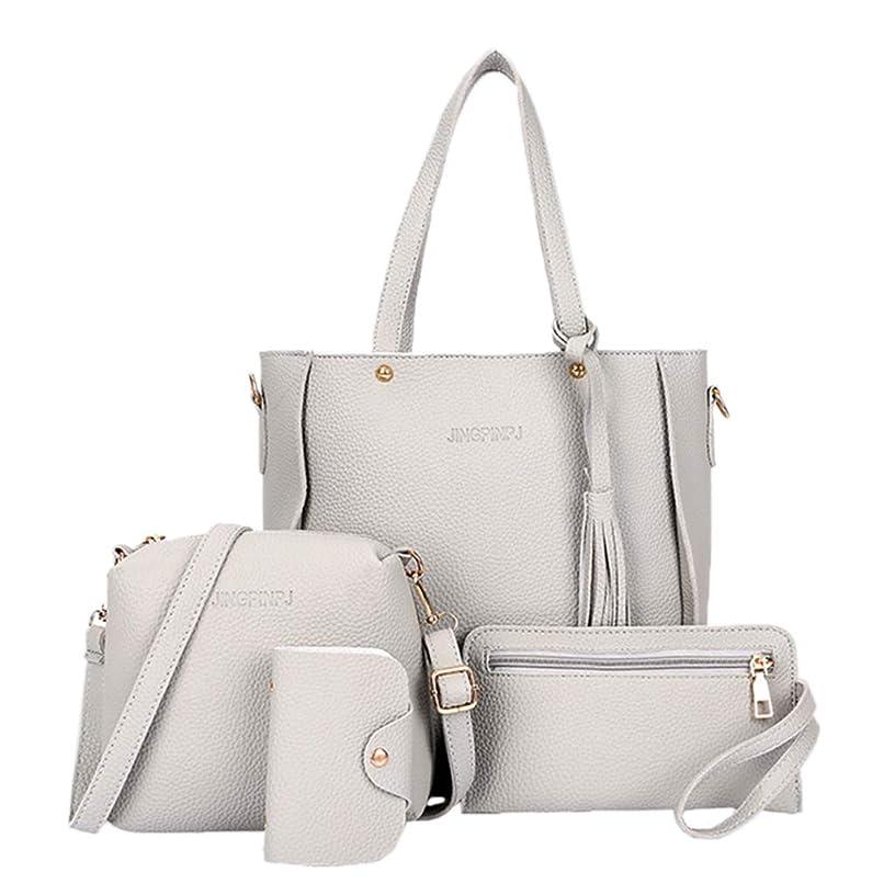 ForHe 4pcs Leather Purse Set Leather Women Hand Bag,Handbag + Shoulder Bag + Zipped Purse With Strap + Multi Slots Card Holder,Light Gray