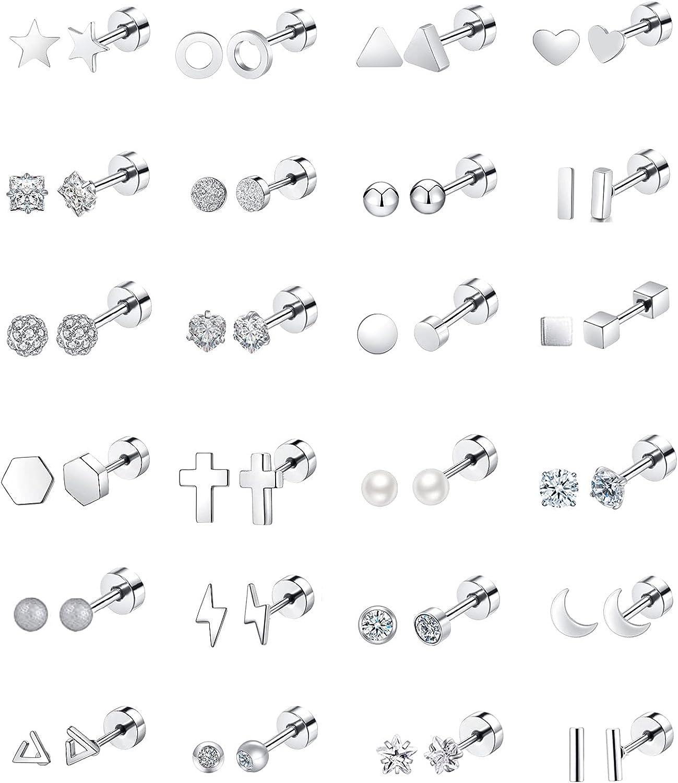 REVOLIA 24Pairs 20G Stainless Steel Tiny Stud Earrings for Women Men Star Moon Heart Cartilage Helix Tragus Earings CZ Ear Piercing Jewelry Set