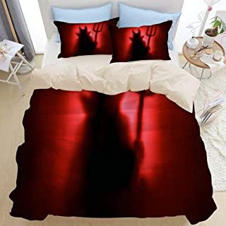 JOSENI Duvet Cover Set Evil Demon Shadow Silhouette Fun Spooky Scary Ghost Behind Decorative 3 Piece Bedding Set with 2 Pillow Shams King Size