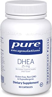 Pure Encapsulations - DHEA (Dehydroepiandrosterone) 25 mg - Micronized Hypoallergenic Supplement - 60 Capsules