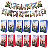 ZSWQ 12 Packs Roblox Party Goodie Bags con 1 Banner di Buon Compleanno, Bomboniere Borse Trattare Borse Regalo Borse per Ragazzi e Ragazze Festa di Compleanno, Roblox Tema Party Supplies Decorazioni