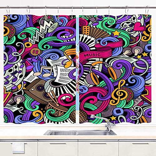 JISMUCI Cortina de Cocina sic Temático Dibujado a Mano Instrumentos Abstractos Micrófono Batería Teclado Stradivarius Juegos de Tratamiento de Ventanas Cortinas 2 Paneles con Ganchos,140x100CM