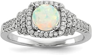 CloseoutWarehouse Quad Princess Center Clear Cubic Zirconia Simulated Opal Ring 925 Sterling Silver