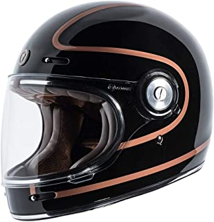 TORC T1 Retro Unisex-Adult Full-Face-Helmet-Style Motorcycle Helmet with Graphic (Copper Pin Gloss Black,Medium), 1 Pack