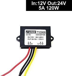 DC 12v Step up to 24v Converter Regulator 5A 120W Power Supply Adapter for Motor Car Truck Vehicle Boat Solar System etc.(...