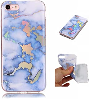 For iPhone 8 Case Marble Pattern Hybrid Hard Back Soft TPU Raised Edge Ultra-Thin Shock Absorption Slim Protective Cover Case for iPhone 7 (Light Blue)