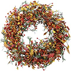 ELEGANT AUTUMN BERRY AND FOLIAGE WREATH - Handcrafted elegantly with berry clusters and silk fall foliage on a thick natural grapevine wreath base. BEAUTIFUL WHITE GIFT BOX INCLUDED - Not only is the wreath beautiful, but it comes with a white storag...