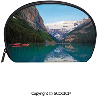 SCOCICI Women Small Portable Cosmetic Bag Storage Bag Lake Louise with a Red Canoe Banff National Park Canada Wilderness Nature Picture Mini Storage Bag for Daily Travel