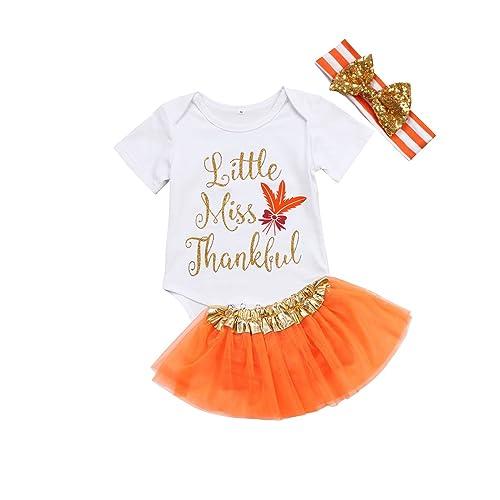 e892dfdf777 Thanksgiving Baby Girl Outfit Infant Romper Pumpkin Tutu Dress Headband  3pcs Set